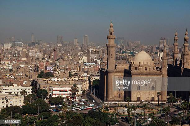 The Sultan Hassan Mosque and city skyline of Cairo are seen from the Muhammad Ali Mosque in Cairo's Citadel on October 21 2013 in Cairo Egypt The...
