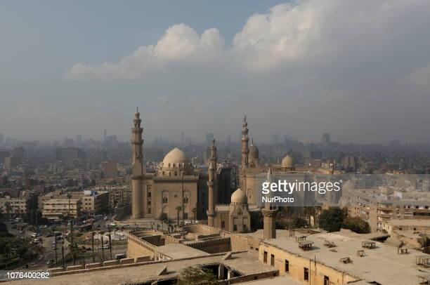 The Sultan Hassan Mosque is visible from the Citadel in the historic Fatimid Cairo Egypt Tuesday January 1 2019 Cairo the most populous city of the...