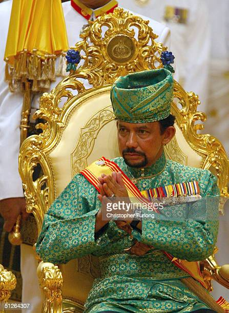 The Sultan of Brunei attends the powdering ceromony of his son at The Sultans Palace Diraja September 5, 2004 in Bandar Seri Begawan, Brunei. His...