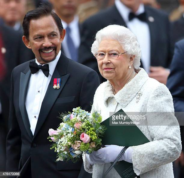 The Sultan of Brunei Hassanal Bolkiah and Queen Elizabeth II attend the Gurkha 200 Pageant at the Royal Hospital Chelsea on June 9 2015 in London...