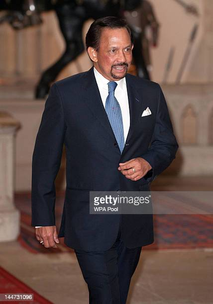 The Sultan of Brunei Hassanal Bolkiah arrives at a lunch For Sovereign Monarchs in honour of Queen Elizabeth II's Diamond Jubilee at Windsor Castle...