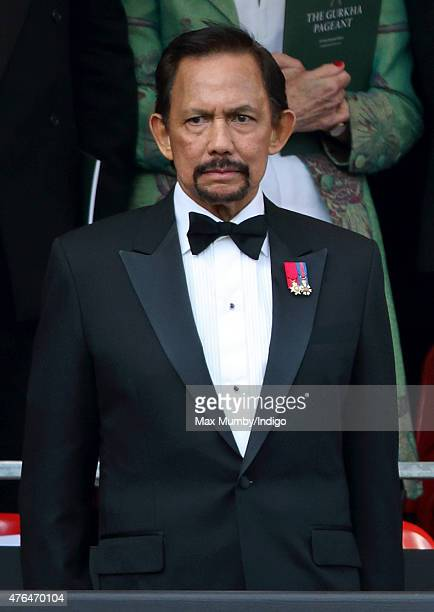The Sultan of Brunei Hassanal Bolkiah attends the Gurkha 200 Pageant at the Royal Hospital Chelsea on June 9 2015 in London England