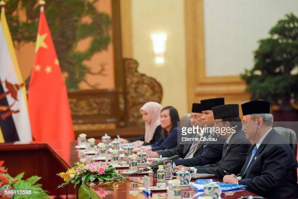 The Sultan of Brunei Hassanal Bolkiah speaks during his meeting with Chinese President Xi Jinping at The Great Hall Of The People on September 13...