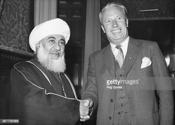 The Sultan of Muscat Said Bin Taimur shaking hands with British Lord Privy Seal Edward Heath at the Foreign Office London August 4th 1961