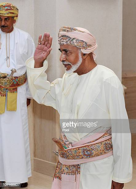 The Sultan of Oman His Majesty Sultan Qaboos bin Said waves goodbye to Queen Elizabeth II and Duke of Edinburgh after an event in honour of Queen...