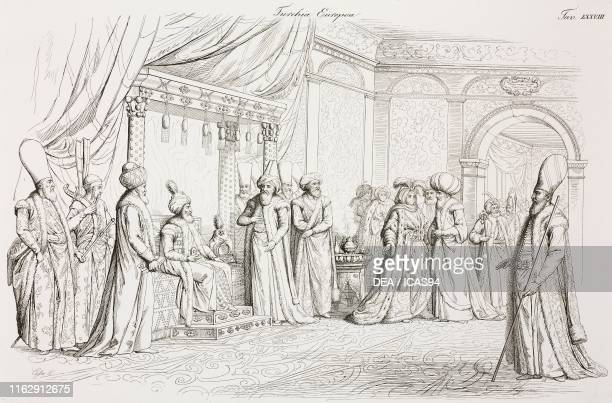 The Sultan of the Ottoman Empire receiving some dignitaries Istanbul Turkey engraving by Lago from a drawing by Giacomo Casa from Il costume di tutti...