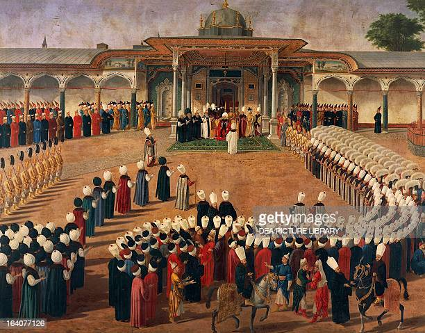 The sultan of the Ottoman Empire Selim III receiving dignitaries at the Gate of Felicity in Istanbul painting by an unknown artist Turkey 18th...