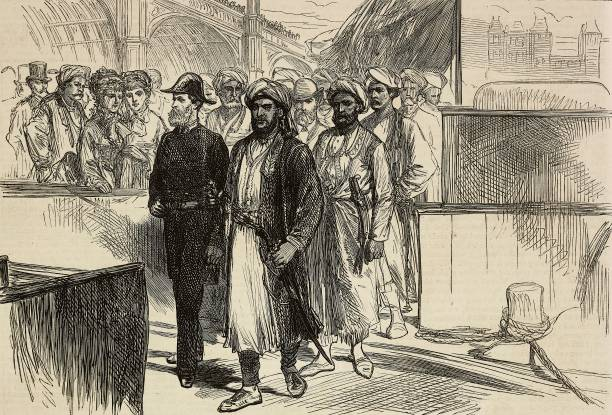 The sultan of Zanzibar landing at Westminster Palace stairs London United Kingdom engraving from The Illustrated London News No 1871 June 19 1875