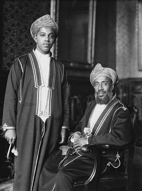 The Sultan of Zanzibar who is celebrating the Silver Jubilee of his accession stands with his heir presumptive
