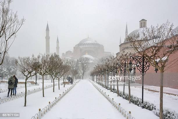 The Sultanahmet Square under snow,Istanbul,Turkey