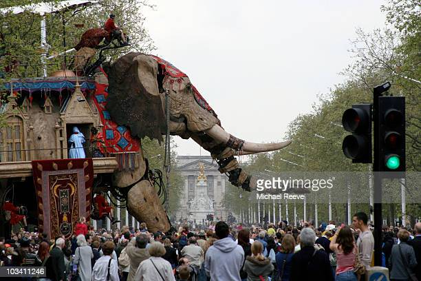 The Sultan's Elephant heads out onto the crowded Mall from Horseguards Parade on the final morning of the events across central London. The Sultan...