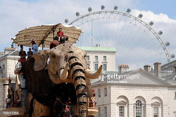The Sultan's Elephant in all its glory standing in Horseguards Parade on the second day of the event in London awaiting the arrival of the girl puppet