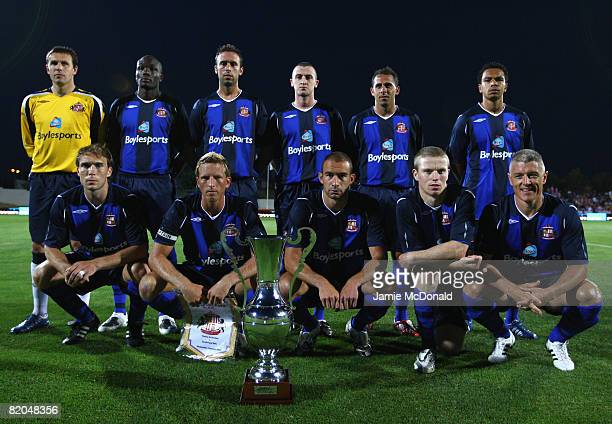 The Sumderland team pose for a team photograph during the pre-season friendly match between Victoria and Sunderland at the Estadio Municipal de...