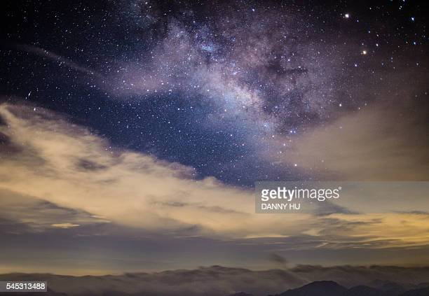 the summer milky way above clouds at night,China