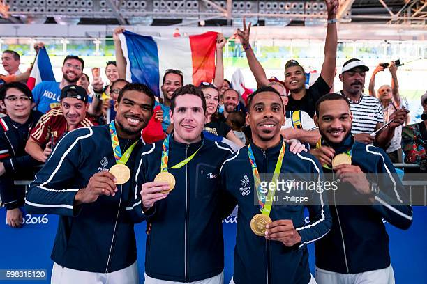 The summer Olympic Games in Rio 2016 the french swordsmen pose with their golden medal from left to right Yannick Borel Gauthier Grumier Daniel...