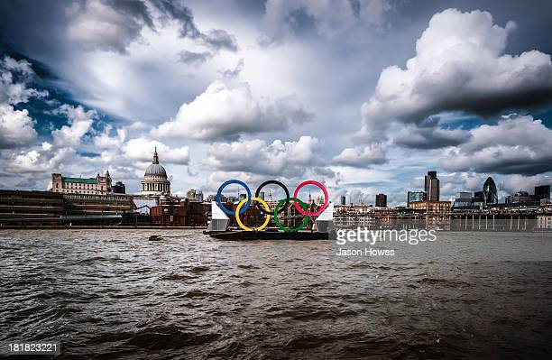 The summer olympics 2012 London UK The olympic rings displayed on the river Thames during the 2012 summer games. A composition with st pauls...