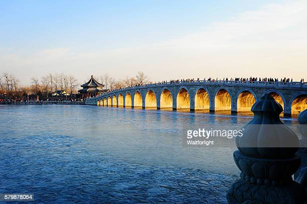 The summer palace and seventeen arch bridge scenery in Beijing.