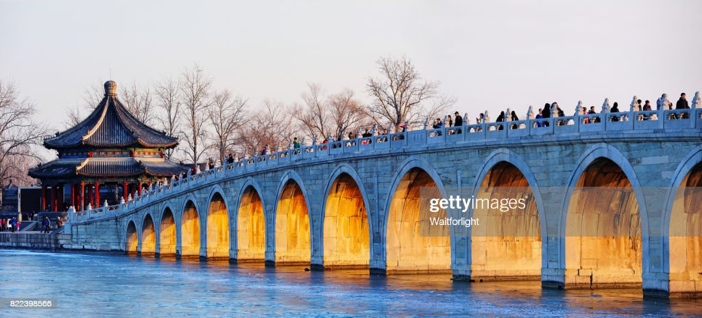 The summer palace and seventeen arch bridge scenery in Beijing. : Stock Photo