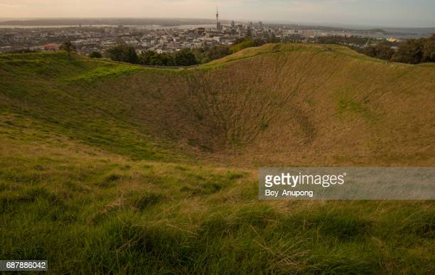 The summit crater of Mount Eden an iconic famous volcano in Auckland, New Zealand.
