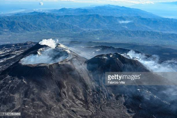 The summit craters of the volcano Etna during a flight with the Coast Guard helicopter on May 8 2019 in Catania Italy On board there were...