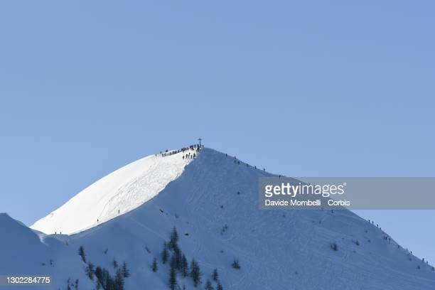 The summit of the mountain Meriggio one of the passages during Italian Team Ski Mountaineering Championships on February 14, 2021 in ALBOSAGGIA,...