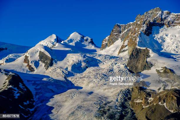 ZERMATT VALAIS SWITZERLAND The summits of the mountains Castor Pollux and the Glacier Grenzgletscher seen from Rotenboden across the valley