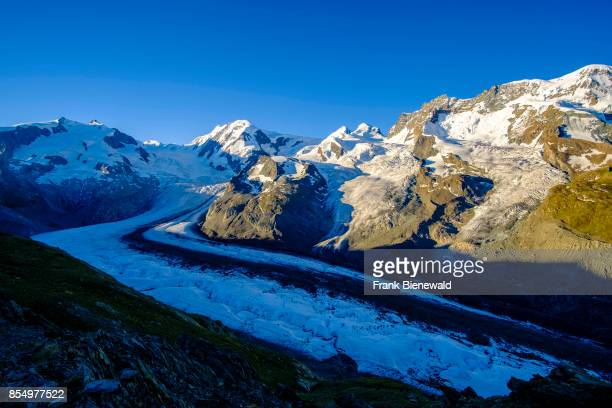 ZERMATT VALAIS SWITZERLAND The summits of the mountains Monte Rosa Liskamm Castor Pollux Breithorn and the Glacier Grenzgletscher seen from...