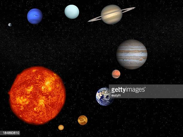 the sun and planets on a black background - solar system stock pictures, royalty-free photos & images