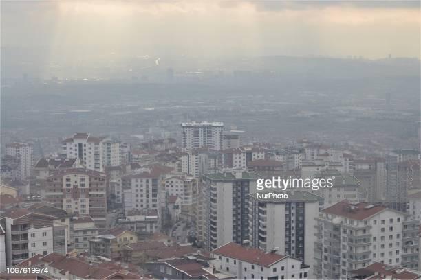 The sun beams through dark clouds in the winter season in Ankara Turkey on December 2 2018