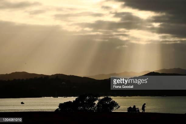 The sun breaks through the clouds at Waitangi ahead of the opening of Te Rau Aroha on February 05 2020 in Waitangi New Zealand The $146 million Maori...