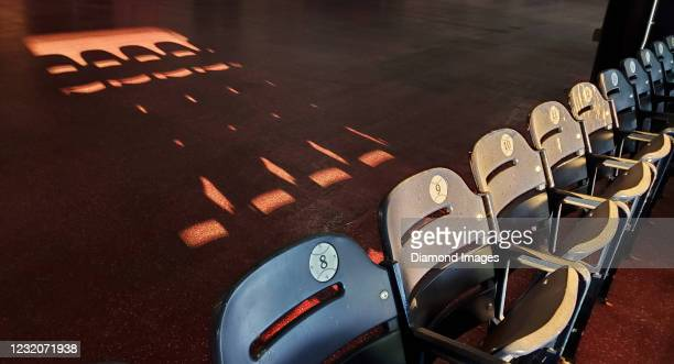 The sun casts a long shadow from stadium seats during a game between the Toronto Blue Jays and the Washington Nationals at Nationals Park on July 27,...