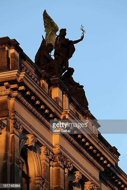 The sun descends on the Albertinum museum on June 7 2010 in Dresden Germany The Albertinum which will exhibit paintings and sculpture from the...