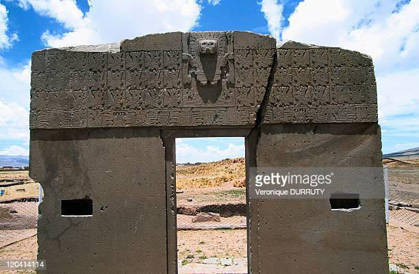 The sun gate, pre-colombian archeological site of Tiwanaku in Bolivia - Located about 70 km from La Paz, dated from the 12th century AD. Aymara...