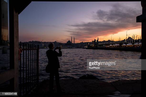 The sun goes down over Karakoy district of Istanbul on November 15 2019