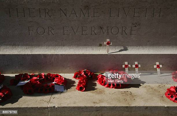 04 The sun illuminates engraving at the Thiepval Memorial on November 4 2008 in Arras France The Commonwealth War Grave Commission manages 956...