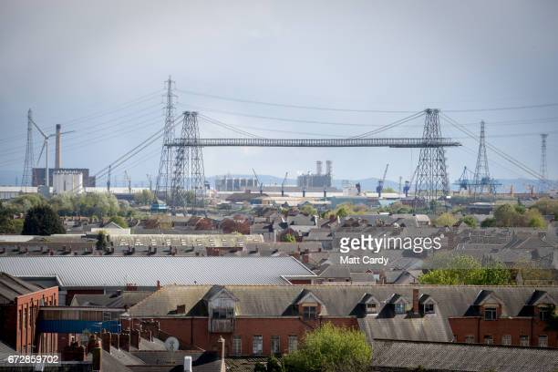 The sun illuminates rooftops of buildings on April 25 2017 in Newport Wales The British Prime Minister Theresa May's visit to South Wales today to...