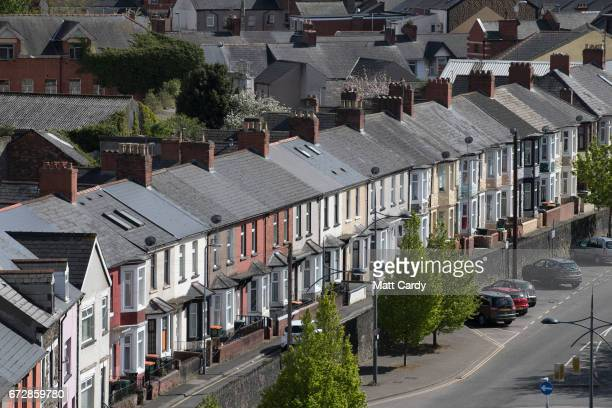 The sun illuminates rooftops on terraced houses in streets on April 25 2017 in Newport Wales The British Prime Minister Theresa May's visit to South...
