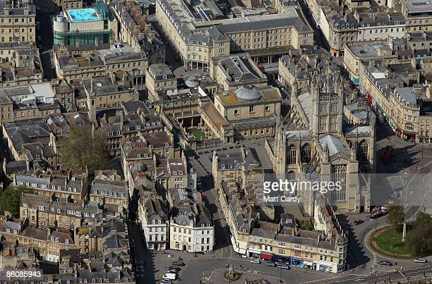 The sun illuminates water in the historic Roman Baths close to the Bath Abbey and the rooftop pool of the Thermae Bath Spa on April 20 2009 in Bath...