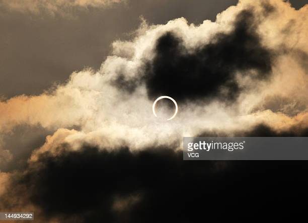 The sun is obscured by the moon during an annular solar eclipse on May 21 2012 in Fuzhou Fujian Province of China It is the first time in 25 years...