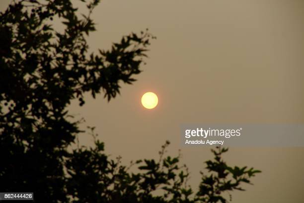 The sun is seen behind dust clouds carried from by Storm Ophelia that have been hit United Kingdom on October 17 2017 in Amsterdam Netherlands