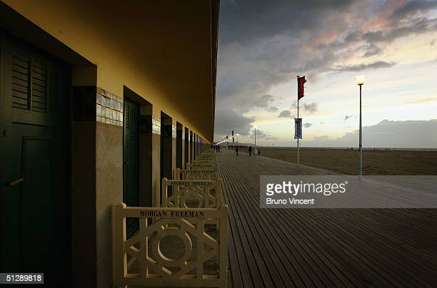 The sun is seen setting over Deauville at the end of the 30th Deauville American Film Festival on September 11 2004 in Deauville France