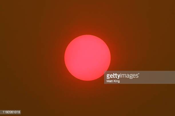 The sun is seen through smoke haze during day one of the 2019 Australian Golf Open at The Australian Golf Club on December 05 2019 in Sydney Australia