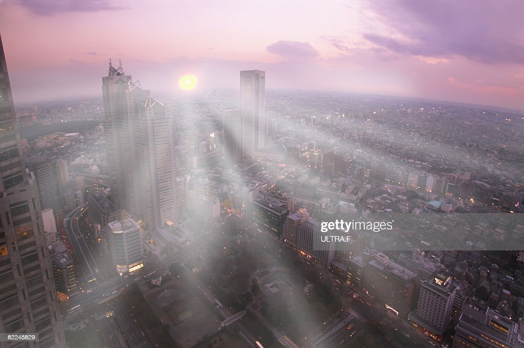 The sun is shining over the city.  : Stock Photo
