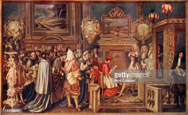 """The """"Sun"""" King Louis XIV, Of France, With His Brilliant Court' . Louis XIV's audience with the Papal ambassador Sigismondo Chigi, 29 July 1664, at..."""