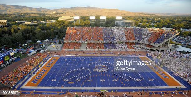 The sun lights the foothills of Boise in this overhead shot of Bronco Stadium before the start of the game between the Oregon Ducks and the Boise...