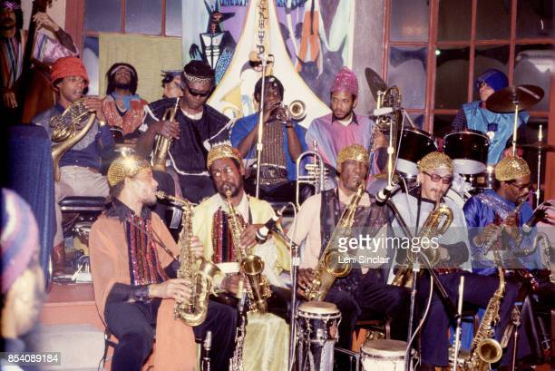 The Sun Ra Arkestra performs at the Detroit Jazz Center with Sun Ra on New Year's Eve in Detroit on December 31 1979