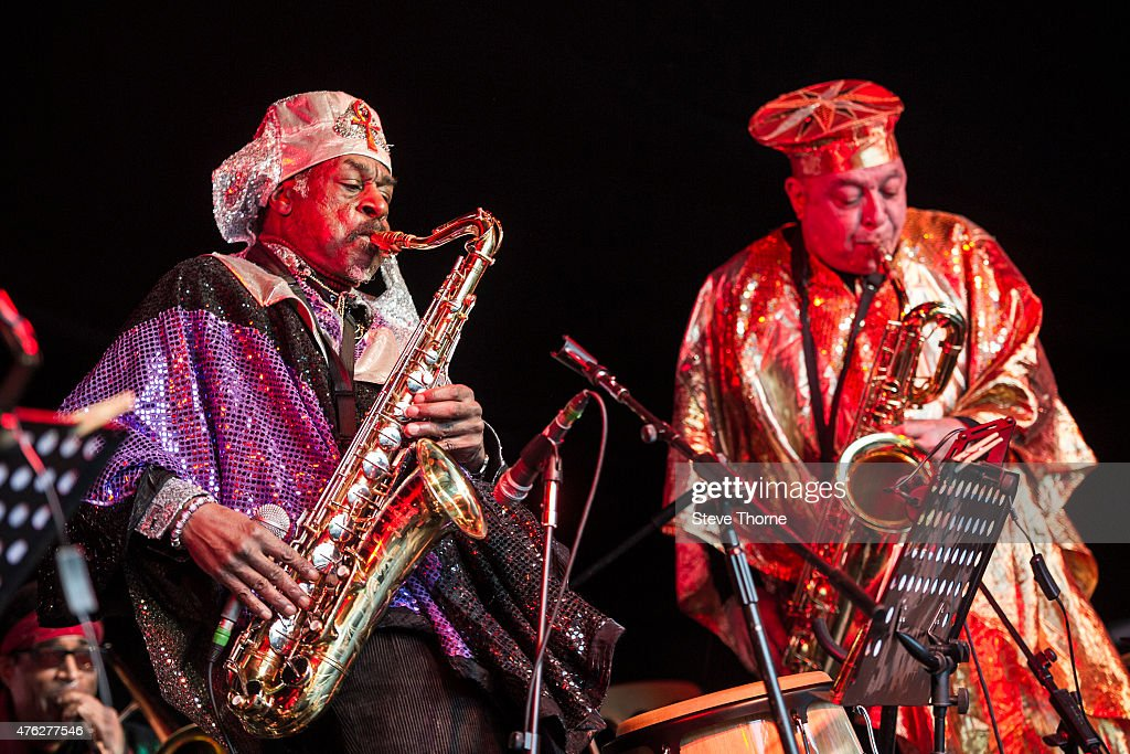 The Sun Ra Arkestra performs at the Lunar Festival on June 7, 2015 in Tanworth-in-Arden, United Kingdom