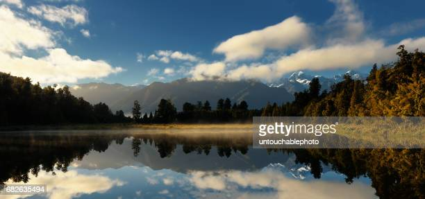 The sun rise at Lake Matheson, West-coast , South island, New Zealand