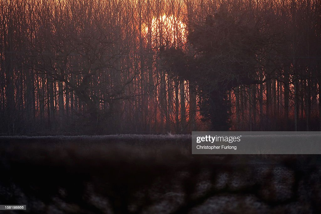 The sun rises and begins to burn off early morning frost clinging to the countryside on December 11, 2012 in Knutsford, England. Forecasters are warning that the UK could experience the coldest day of the year so far tomorrow, as temperatures could drop as low as -14C, bringing widespread ice, harsh frosts and freezing fog. Travel disruption is expected with warnings for heavy snow.