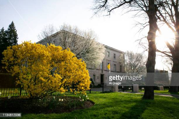 The sun rises as the Apostolic Nunciature of the Holy See building stands on April 4 2019 in Washington DC Pope Francis has named the Archbishop of...